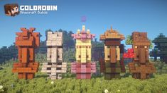 I built more Villagers! Yes, I love Villagers! Minecraft Park, Cool Minecraft Banners, Minecraft Kingdom, Minecraft Statues, Minecraft Banner Designs, Minecraft Houses Survival, Amazing Minecraft, Minecraft Decorations, Minecraft House Designs