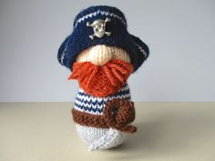 Pirate Pete toy knitting patterns by fluffandfuzz on Etsy
