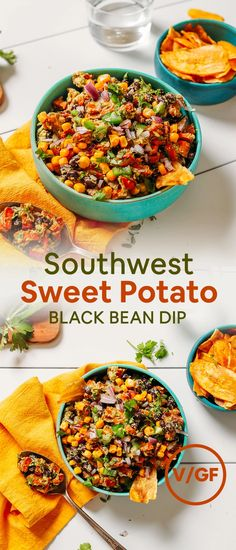 Southwest Sweet Potato Black Bean Dip that makes a delicious, plant-based appetizer or side dish on Mexican night! Roasted Sweet Potatoes, Sweet Potato Dip, Black Bean Dip, Black Beans, Great Appetizers, Appetizer Recipes, Healthy Appetizers, Dinner Recipes, Cinco De Mayo