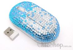 Blue/Silver Wireless Crystal Computer Mini Mouse for any Notebook, Laptop or Desktop PC. Decorated in Rhinestone.