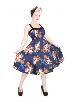 dd9b347967c0e H &R 9320 Navy Floral Long Dress Pinup Vintage inspired Spring Blossom  Retro #