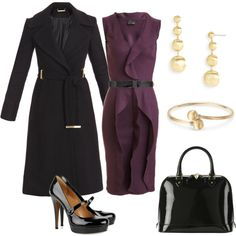 """Grape and Black Work Outfit"" by sazzledoodle on Polyvore"