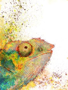 Chameleon watercolor.