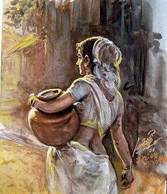 Artist Oviyar Maruthi: born in Pudukottai, a small town in Tamil Nadu… India Painting, Woman Painting, Painting & Drawing, Art Village, Indian Art Paintings, India Art, Indian Artist, Art Drawings Sketches, Female Art
