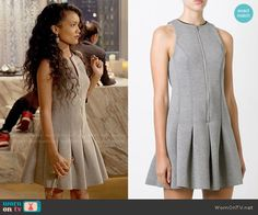 Laura's grey pleated zip-front dress on Empire.  Outfit Details: http://wornontv.net/54407/ #Empire