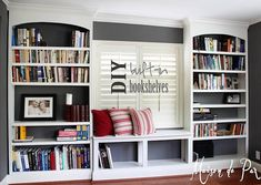 Gorgeous DIY built-in bookshelves at maisondepax.com! WANT for my spare room!