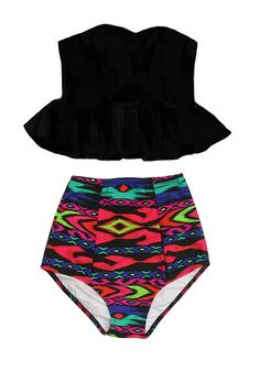 PRODUCT INFORMATION Retro padded top and high-waist bottom swimsuit. Looking for more varieties of this pattern swimsuits, please take a look