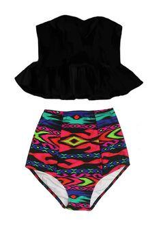 Back Long Peplum Strapless Bra Top and Tribute Tribal High Waisted Waist Highwaist Bottom Swimwear Swimsuit Bikini set Bathing Suit S M L XL