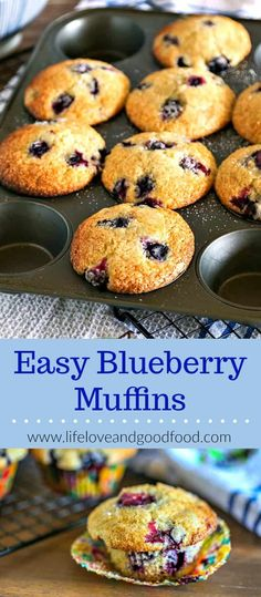 Wake up your week with a batch of these Easy Blueberry Muffins. Bursting with juicy berries, this recipe works well with either fresh or frozen blueberries. #muffins #blueberries #brunch #breakfast #baking #quickbread via @sheilathigpen
