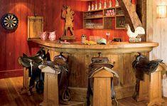 Western bar design with saddle bar stools Western Bar Design mit Sattel Barhockern Bar Western, Western Style, Western Kitchen, Saddle Bar Stools, Diy Bar Stools, Saddle Chair, Western Furniture, Bar Furniture, Bedroom Furniture