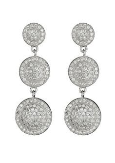 SIMPLY SILVER C.Z. 3 Round Micropave Drop Earrings | ideal $30
