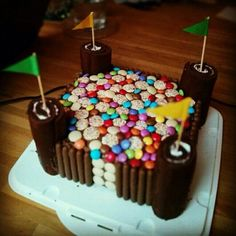 Swiss roll and smarties fort cake