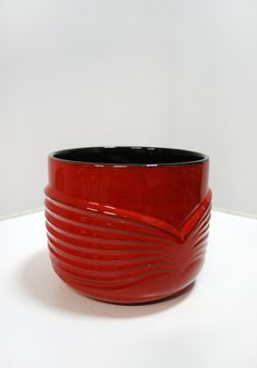 Vintage 60-70's Op Art Red Flowerpot Planter by Fohr Keramik West German Pottery Ceramics - Relief Modernist Germany Lava Black Pot Retro by WestEstShop on Etsy