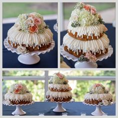 Nothing Bundt Cakes Wedding Cake! Ours was so beautiful with the drizzled frosting and fresh flowers. The stands were from Pier 1 imports. It was so delicious... white chocolate raspberry is the best flavor. We got so many compliments & our guests loved it!