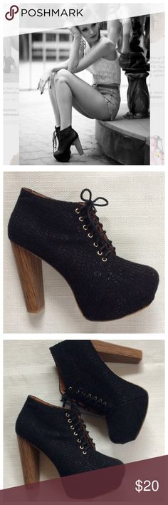 "Chunky Heel Platform Booties Super cute booties. Black lace overlay a black sock, full front tie. Wooden heel has some wear, see last pic. Approximately 5"" heel with 1.5"" front platform. True to sz 10 by Beauty Heel. Shoes Ankle Boots & Booties"