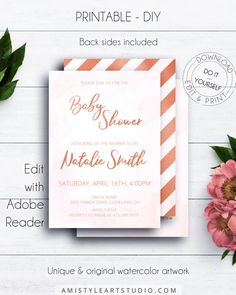 Rosegold Baby Shower Invitation, with adorable rose gold writing on watercolor background by Amistyle Art Studio on Etsy Baby Shower Invitation Templates, Printable Invitations, Birthday Invitations, Printables, Watercolor Artwork, Watercolor Background, Diy Shower, Birthdays, Stationery