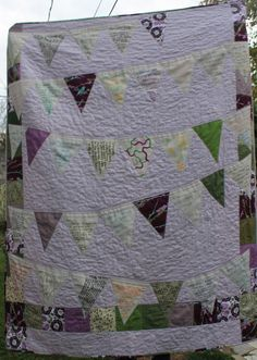 Bunting Flags Wedding Quilt Signature Guest Book by WaterPenny - use the berry colors and fabric that matches bunting for the party.