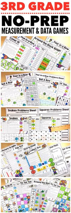 """""""Kids are LOVING these games during rotation time to reinforce standards."""" This 3rd Grade Measurement & Data Games Pack includes 21 differentiated games for practicing telling time, elapsed time, metric mass, metric liquid volume, measuring length, line plots, bar graphs, picture graphs, perimeter, and area. These games support the 3rd grade CCSS measurement & data standards."""