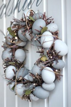 Decorating for Easter decoration Easter egg wreath branches blue Easter Wreaths, Christmas Wreaths, Making Easter Eggs, Corona Floral, Diy Ostern, Creation Deco, Easter Parade, Hoppy Easter, Easter Food