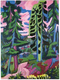 Ernst Ludwig Kirchner - Wildboden Mountains Forest, Size: cm, Medium: oil on canvas Ernst Ludwig Kirchner, Art And Illustration, Oil Canvas, Canvas Art, George Grosz, Expressionist Artists, Arte Pop, Kandinsky, Oeuvre D'art