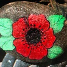 Pebble Painting, Pebble Art, Stone Painting, Rock Painting, Painting & Drawing, Painting Flowers, Remembrance Day Art, Inspirational Rocks, Rock Flowers