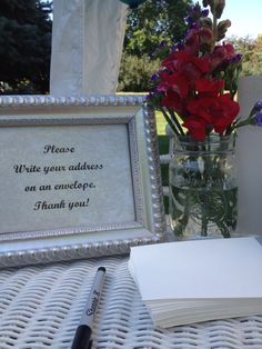 Great idea for the guests to write their addresses