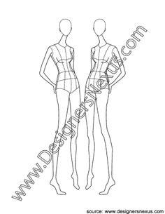 006- fashion design croqui template three-quarter front pose