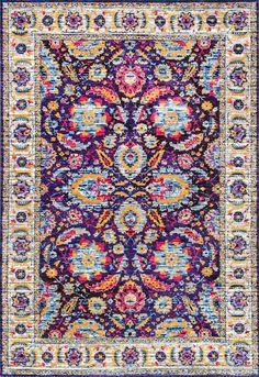 Rugs USA Navy Fantasy Spacy Florid Herati rug - Bohemian Rectangle x Floral Rug, Vintage Frames, Colorful Rugs, Room Rugs, Rugs, Multicolored Rugs, Nuloom, Rugs In Living Room, Vintage Rugs