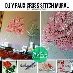 Cross stitch mural DIY