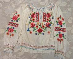Vintage 1950s TO 1960s Hand Embroidered Hungarian Long Sleeve Blouse Shirt M | eBay