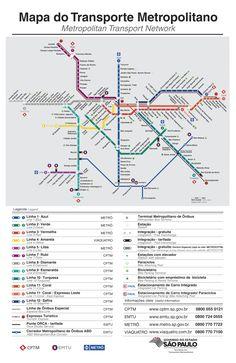 Plano Metro Sao Paulo / Sao Paulo subway #infografia #infographic #maps