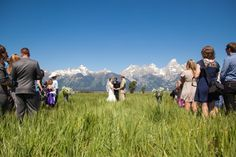 Grand Teton National Park Wedding Ceremony outdoors with mountain backdrop
