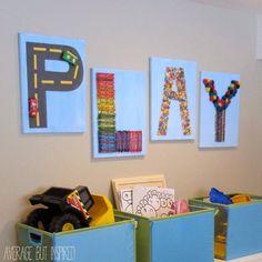 DIY Play Canvas Wall Decor for Kid's Room or Playroom. Spell Love or Neighbor? Playroom Wall Decor, Canvas Wall Decor, Playroom Ideas, Kid Decor, Canvas Art, Bedroom Decor, Wall Decor Kids Room, Bedroom Wall, Tree Bedroom