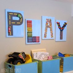 PLAY art is easy to make using toys and craft supplies from a dollar store!