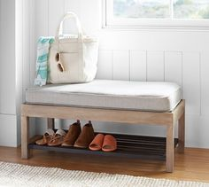 Pottery Barn Lucy Entry Collection, Shoe Bench - ShopStyle Home Bench With Storage, Shoe Storage, Storage Ideas, Barn Storage, Playroom Storage, Shoe Racks, Storage Baskets, Storage Solutions, Entry Furniture