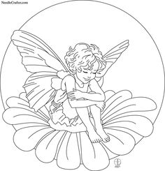 Free Embroidery Pattern 'Fairy Child on Flower' Fairy Coloring Pages, Adult Coloring Pages, Coloring Books, Embroidery Patterns Free, Embroidery Applique, Cross Stitch Embroidery, Flower Embroidery, Fairy Drawings, Plant Drawing