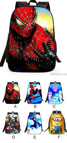 7fed5fe9fc Cartoon School Student Cute Spider Man Super Hero Minions Children s  Backpack for big sale!
