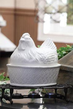 White Ceramic Hen Covered Casserole Dish