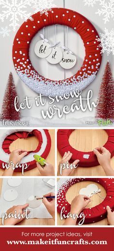 Let it Snow Wreath #ACMooreInspired.
