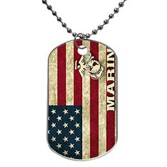 Marine Corps American Flag Air Force Custom Dog Tag with Neck Chain Aluminum Oval Dog Tag Large Size Necklace Design by Stbenn *** You can get additional details at the image link.