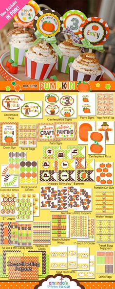 Little Pumpkin Party Printable - Fall Birthday - Pumpkin Birthday - Pumpkin Patch - Thanksgiving -  Huge Party Set by Amanda's Parties TO GO...