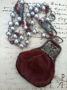 HOLD for R - BUTTERFLY BEAUTY - Wonderful Gray Pearl and Ruby Jade Necklace with Butterflies