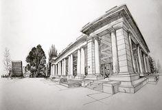 Sketching the classical pavilion at Cheeseman Park, Denver. #urbansketchers #urbansketchersdenver #drawing #sketchbook #art #artistsofinstagram #denverartists #cheesemanpark #journal #notebook #perspective #sketch #wideangle #fisheye #architecture #denver