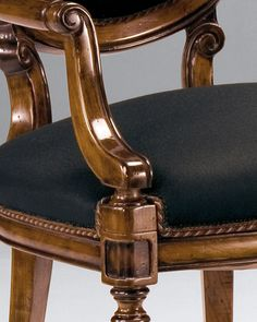 chairs | luxury Italian furniture | Louis XVI style beech-wood chairs in hand-rubbed walnut finish with antique silver-leaf accents