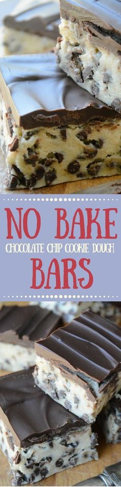 Your refrigerator does all the work for these No Bake Chocolate Chip Cookie Dough Bars - cut them in small pieces, --- they're super rich! ~ theviewfromgreatisland.com