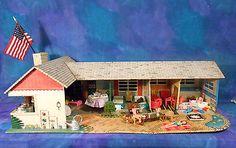 Vintage 1950s Marx Ranch Dolls House Dollhouse Tin Metal w Vintage Furn 54pc