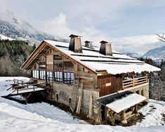 Can you believe this charming chalet, nestled in the French Alps, was once a farmhouseoriginally built in the late 19th century? Belgian designer Lionel Jadot was commissioned to not only restore the old building, but also transform it into a modern day cabin with his eclectic and