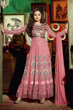 Color: Peach Collection: Type: Long Anarkali Suit Top: 60 gm Georgette Bottom: Santoon Dupatta: Nazneen Work: Embroidery work Weight: k.g Season: Any Occasion: Cerimony, Festival, Party, Wedding Time to Ship: Ready To Ship Pakistani Outfits, Indian Outfits, Indian Clothes, Desi Clothes, Drashti Dhami, Winter Skirt Outfit, Anarkali Suits, Long Anarkali, Punjabi Suits