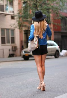 Blue Leather Jacket and nice legs!