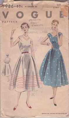 MOMSPatterns Vintage Sewing Patterns - Vogue 7986 Vintage 50's Sewing Pattern GORGEOUS Rockabilly Lucy V Neck, Shaped Armhole Full Skirt Dress, Stitching Detail Size 14